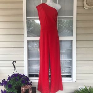 Bold One Shoulder Jumpsuit in Red - Gorgeous!!